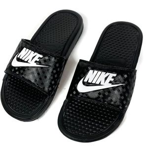 Nike Black White Slip On Slide Sandals